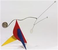tres puntos blancos sobre rojo, amarillo y azul by alexander calder