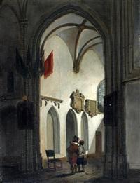 figuren in een kerkinterieur by adrianus wilhelmus nieuwenhuyzen