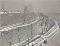 quai des grands-augustins, sous la neige by albert marquet