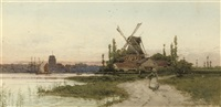 a windmill by the coast (+ another; pair) by archibald webb