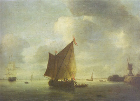 dutch shipping becalmed in an estuary by hendrick van anthonissen