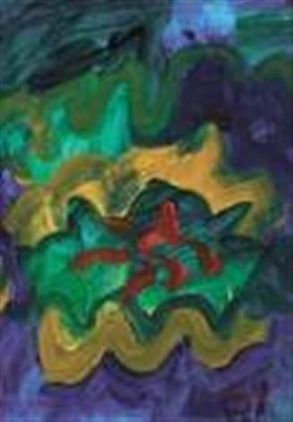 sans titre bleu vert doré et rouge by tang haywen