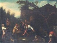 peasants eating outside a homested by dirk helmbreker