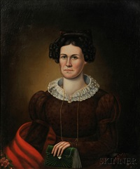portrait of a woman wearing a red shawl and holding a green pocketbook by erastus salisbury field