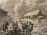 winter scene, with soldiers resting by a farm by jan anthonie langendyk