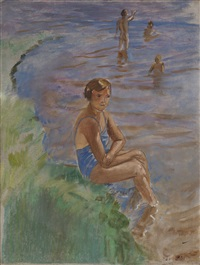 by the shore of lake ilmen by kuz'ma sergeevich petrov-vodkin