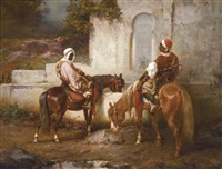 horses at the well by adolf schreyer