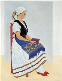 girl in a traditional costume by vilmos huszar