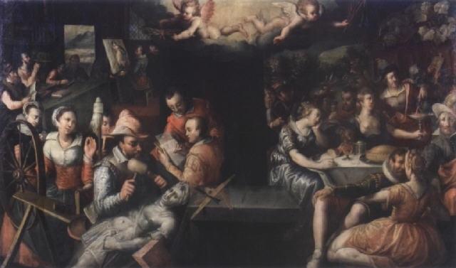 le couronnement des arts et du travail et la punition des plaisirs temporels by jeremias van winghe