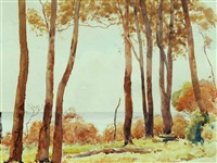 coastal scene with trees by george courtney benson