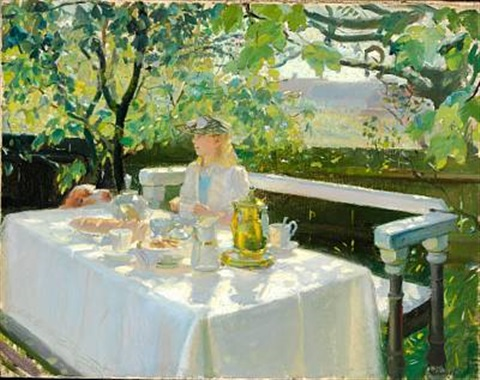 ved frokosten (lunchtime) by anna kirstine ancher