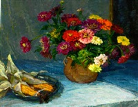 a vase of summer flowers with a dish of corn on a table by ellen tornquist