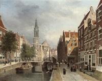 on a canal, amsterdam by johannes frederik hulk the elder