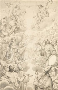les saints intercédant auprès du christ by grégoire huret