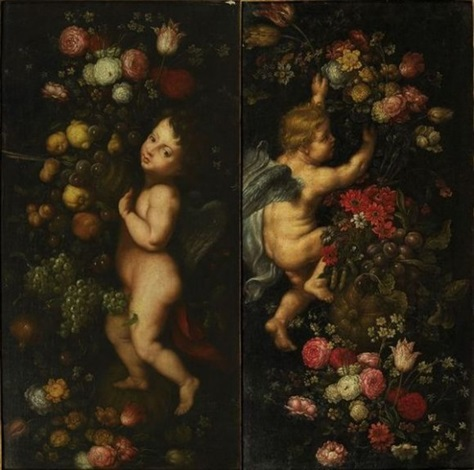 putti et fleurs pair by jan pieter ykens