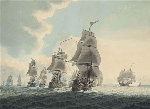 a squadron of the royal navy running down the channel an east indiaman preparing to sail pair by samuel atkins