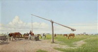 watering horses in the puszta by hermann reisz