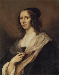 portrait of a lady in a black dress with a white chemise, cuffs and mantle by jürgen ovens