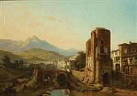 de ruïne van een uitkijktoren in een stad in de bergen by françois antoine bossuet
