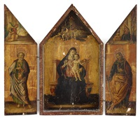 a triptych: the central panel, virgin and child with god the father above, centered by the virgin annunciate; the left panel, saint peter; the right panel, saint paul by giovanni di paolo