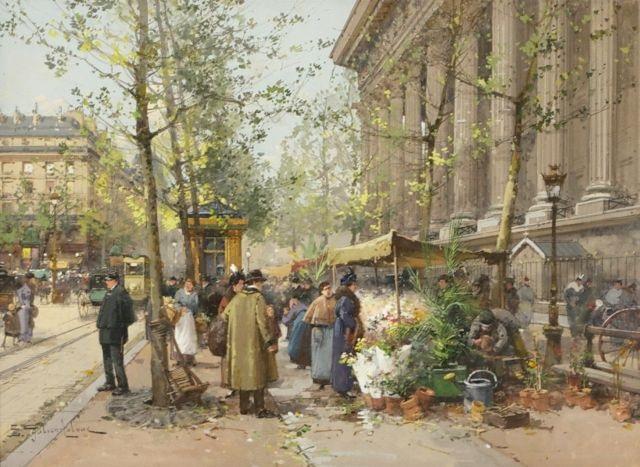 paris street market scene by eugène galien laloue