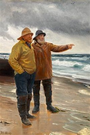 two fishermen on the beach one is pointing towards the sea by michael peter ancher