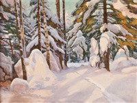 snow laiden pines by georg von rosen