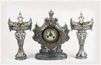 clock garniture, model 411/412 (in 3 parts) by faience en tegelfabriek