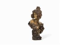 bust of a girl by friedrich goldscheider