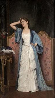 jeune femme dans un intérieur by auguste toulmouche