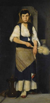 girl with distaff and spindle by polychronis lembessis