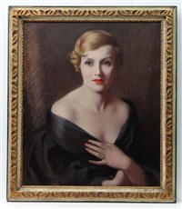 portrait of lady in black low cut evening dress by lewis baumer