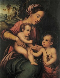 madonna con bambino e san giovannino by francesco brini