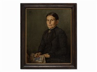 portrait of sister agathe by hans thoma