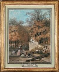 personnages conversant dans un parc by louis gadbois