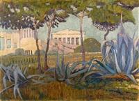 acropolis - acropole vue entre des pins et aloès by konstantinos maleas