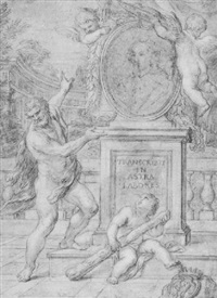 hercules before the portrait of a cardinal by pietro locatelli