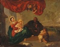 la sainte famille avec saint jean-baptiste enfant by pierre brebiette