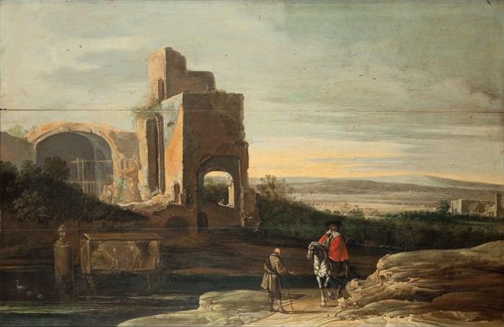 paysage de la campagne romaine avec un cavalier et un villageois près dun édifice antique en ruine by charles cornelisz de hooch