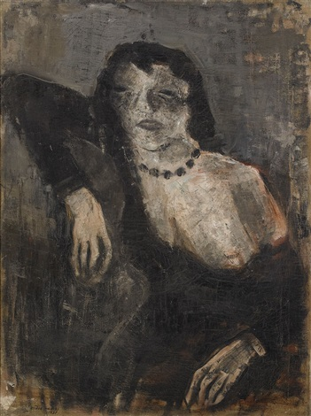 sitting woman by endre nemes