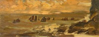 coast scene with ships by arthur bowen davies