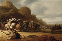 a cavalry battle scene with roman and turkish soldiers by gerrit claesz bleker