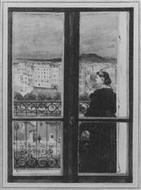 femme sur son balcon by zacharie astruc
