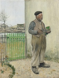bonhomme venant de peindre sa barrière (man having just painted his fence) by jean françois raffaëlli
