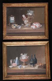 natures mortes aux bouteilles et aux vases (pair) by lelong