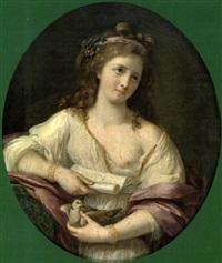jeune fille tenant une colombe by marie-victoire lemoine