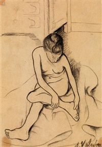 nu assis se tenant le pied by suzanne valadon