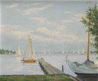 sailing boats at the loosdrechtse plassen by dirk smorenberg