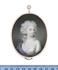 maria, duchess of gloucester, wearing white dress and blue mantle, her powdered wig worn à la conseilleur by philip jean
