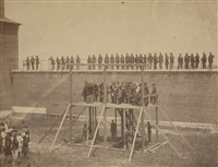 the hanging of the lincoln conspirators on july 7, 1865 (suite of 4) by alexander gardner